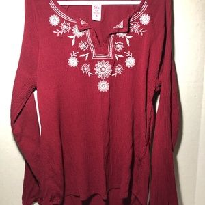 Justice Long Sleeve Rayon Blouse, Maroon/White, 8